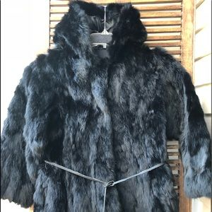 Vintage Wilson's black hooded rabbit fur jacket M